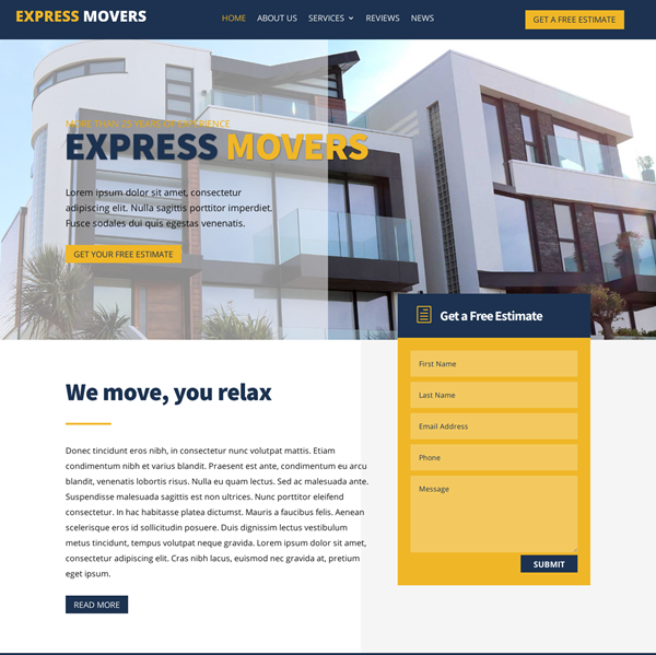 Website for Moving Company