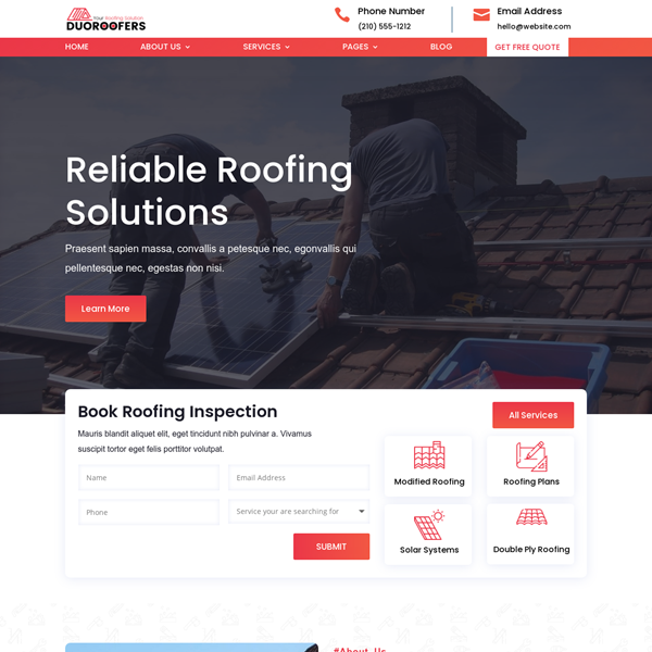 Website for Roofing Company